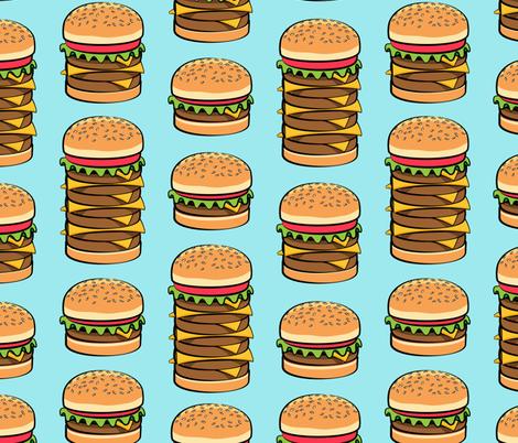 I love hamburgers -cookout fabric - blue fabric by littlearrowdesign on Spoonflower - custom fabric