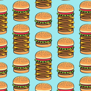 I love hamburgers -cookout fabric - blue