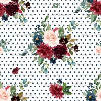 """1.5"""" Rustic Boho Florals - Dark Blue Polka Dots"""