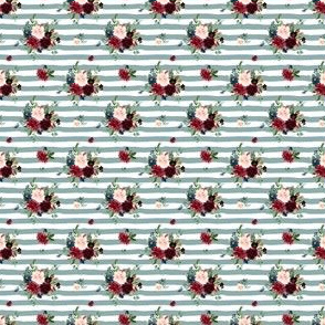 "1.5"" Rustic Boho Florals - Muted Blue Stripes"