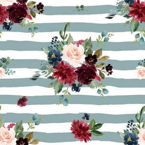 "21"" Rustic Boho Florals - Muted Blue Stripes"
