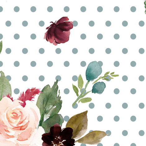 "21"" Rustic Boho Florals - Muted Blue Polka Dots fabric by shopcabin on Spoonflower - custom fabric"