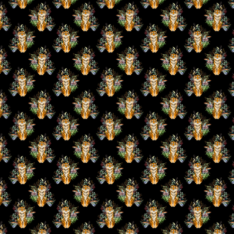 "1.5"" Boho Tiger Florals - Black fabric by shopcabin on Spoonflower - custom fabric"