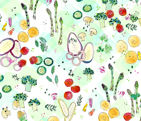 Grilled Veggies - © Lucinda Wei fabric by lucindawei on Spoonflower - custom fabric