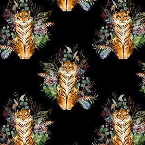 "4"" Boho Tiger Florals - Black"