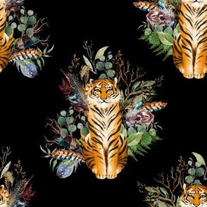 "8"" Boho Tiger Florals - Black"