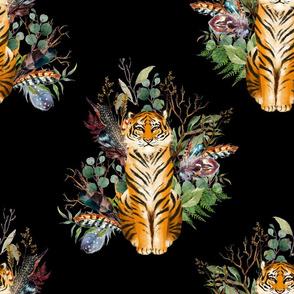 "18"" Boho Tiger Florals - Black"