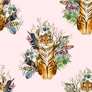 """8"""" Boho Tiger Florals - Blush"""