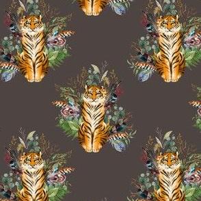 """4"""" Boho Tiger Florals - Brown"""