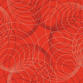 Vintage Matchbox Circles - Peach and Dark on Red