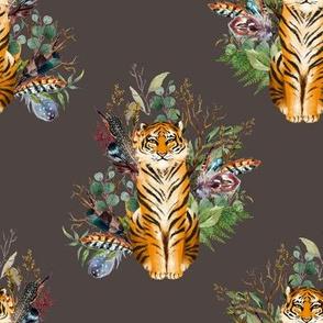 """8"""" Boho Tiger Florals - Brown"""