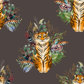 """18"""" Boho Tiger Florals - Brown"""