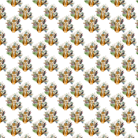 "1.5"" Boho Tiger Florals - White fabric by shopcabin on Spoonflower - custom fabric"