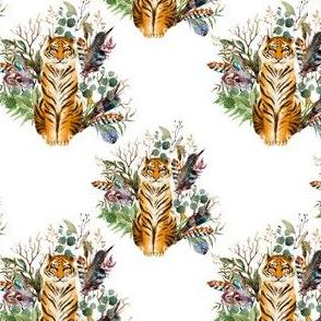 "4"" Boho Tiger Florals - White"