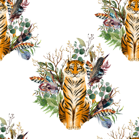 """8"""" Boho Tiger Florals - White fabric by shopcabin on Spoonflower - custom fabric"""