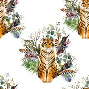 "8"" Boho Tiger Florals - White"