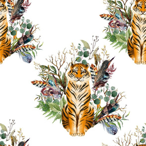 "18"" Boho Tiger Florals - White"