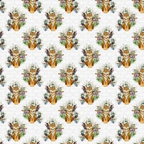 "1.5"" Boho Tiger Florals - Grey Stripes"