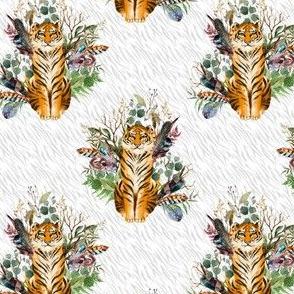 "4"" Boho Tiger Florals - Grey Stripes"