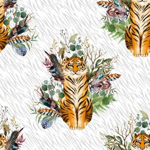 "8"" Boho Tiger Florals - Grey Stripes"