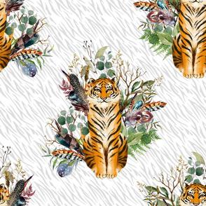"18"" Boho Tiger Florals - Grey Stripes"