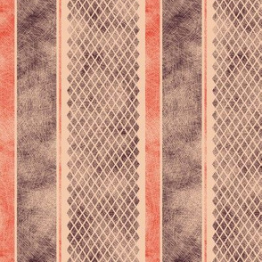 Vintage Matchbox Stripe - Red and Dark on Peach