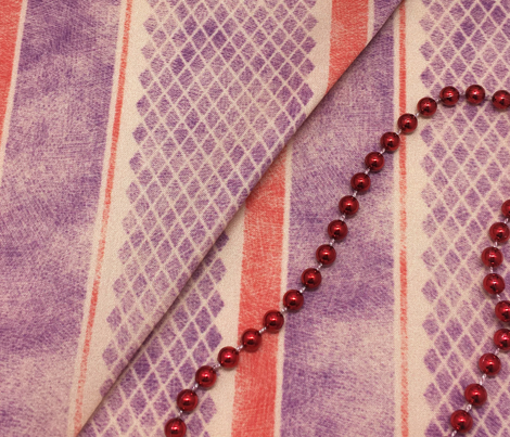 Vintage Matchbox Stripe - Violet and Red on Peach