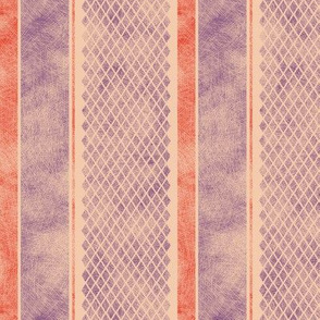 Vintage Matchbox Stripe - Violet and Red on Peach