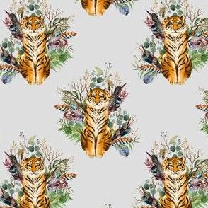 "4"" Boho Tiger Florals - Grey"