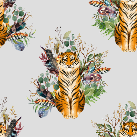 "8"" Boho Tiger Florals - Grey fabric by shopcabin on Spoonflower - custom fabric"