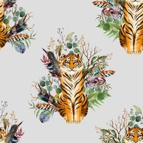 "8"" Boho Tiger Florals - Grey"