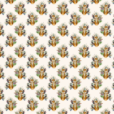 "1.5"" Boho Tiger Florals - Ivory fabric by shopcabin on Spoonflower - custom fabric"