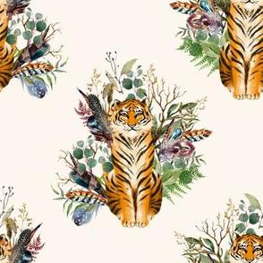 """8"""" Boho Tiger Florals - Ivory"""