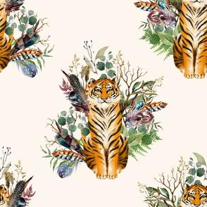 """18"""" Boho Tiger Florals - Ivory"""