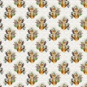 """1.5"""" Boho Tiger Florals - Taupe Stripes"""