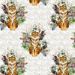 """4"""" Boho Tiger Florals - Taupe Stripes"""