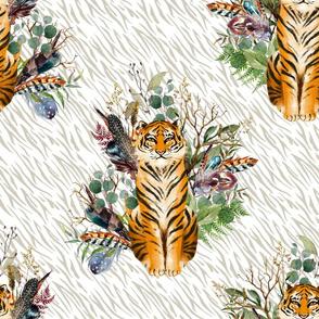 """18"""" Boho Tiger Florals - Taupe Stripes"""