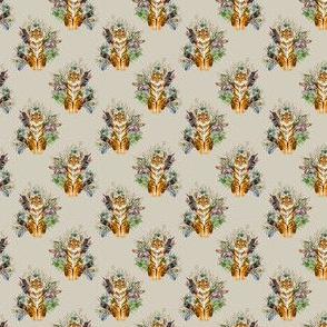 """1.5"""" Boho Tiger Florals - Taupe"""