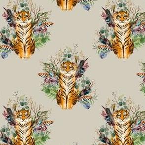 """4"""" Boho Tiger Florals - Taupe"""