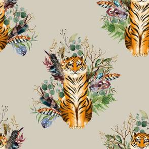"""18"""" Boho Tiger Florals - Taupe"""