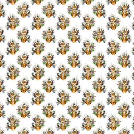 "1.5"" Boho Tiger Florals - White 2 fabric by shopcabin on Spoonflower - custom fabric"