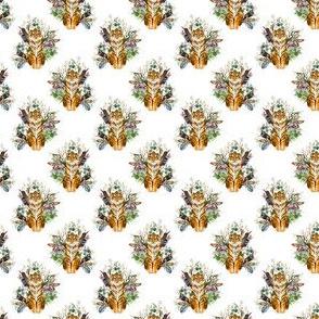 "1.5"" Boho Tiger Florals - White 2"