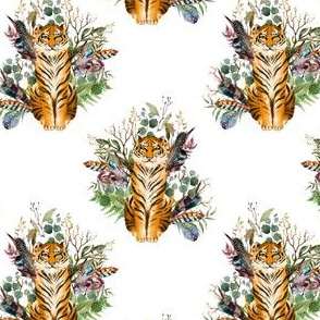 "4"" Boho Tiger Florals - White 2"