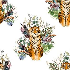 "8"" Boho Tiger Florals - White 2"