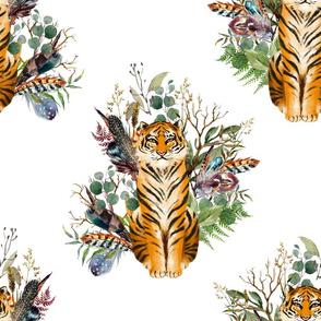 "18"" Boho Tiger Florals - White 2"