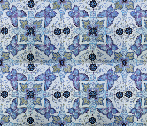 Butterfly with Purple and Blue fabric by karry_l on Spoonflower - custom fabric
