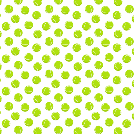 (extra small scale) tennis balls on white fabric by littlearrowdesign on Spoonflower - custom fabric