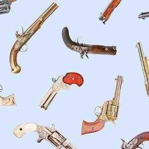 Antique Pistols on Light Blue // Large