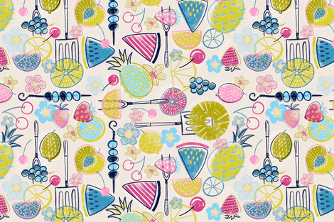 Mod Summer Fruit-out (tan) fabric by helenpdesigns on Spoonflower - custom fabric