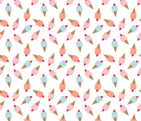 Sweet Summer Ice Cream Cones fabric by alexazurcher on Spoonflower - custom fabric